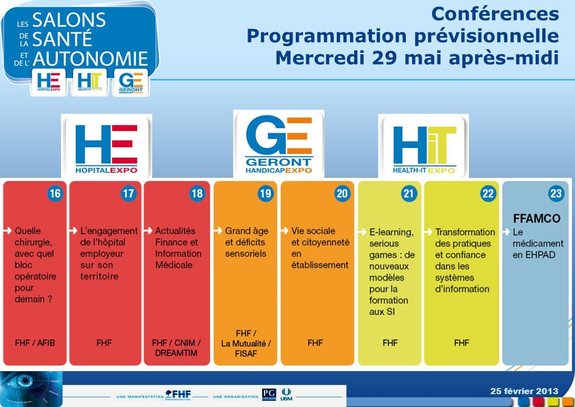 Conférences Programmation prévisionnelle Mercredi 29 mai après-midi