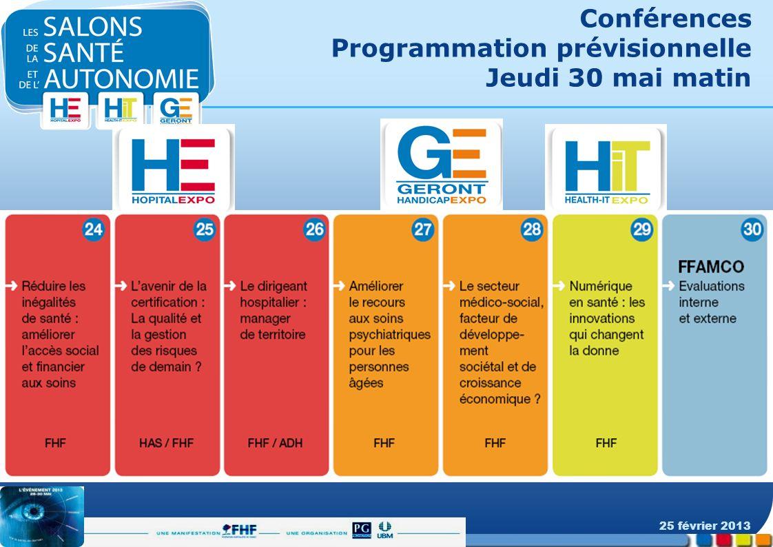 Conférences Programmation prévisionnelle Jeudi 30 mai matin