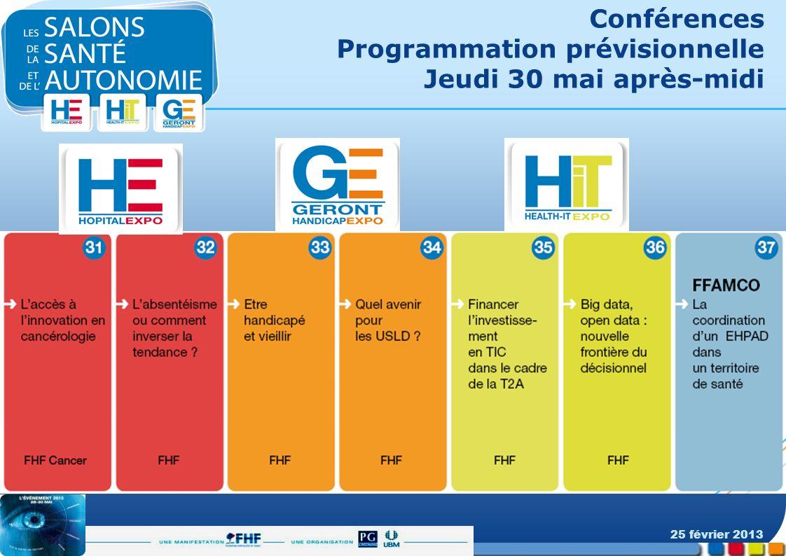 Conférences Programmation prévisionnelle Jeudi 30 mai après-midi