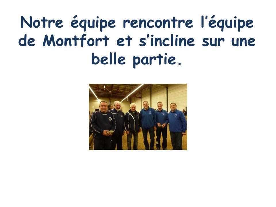 Notre équipe rencontre l'équipe de Montfort et s'incline sur une belle partie.