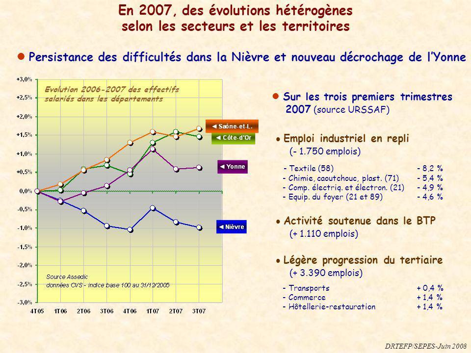 En 2007, des évolutions hétérogènes selon les secteurs et les territoires