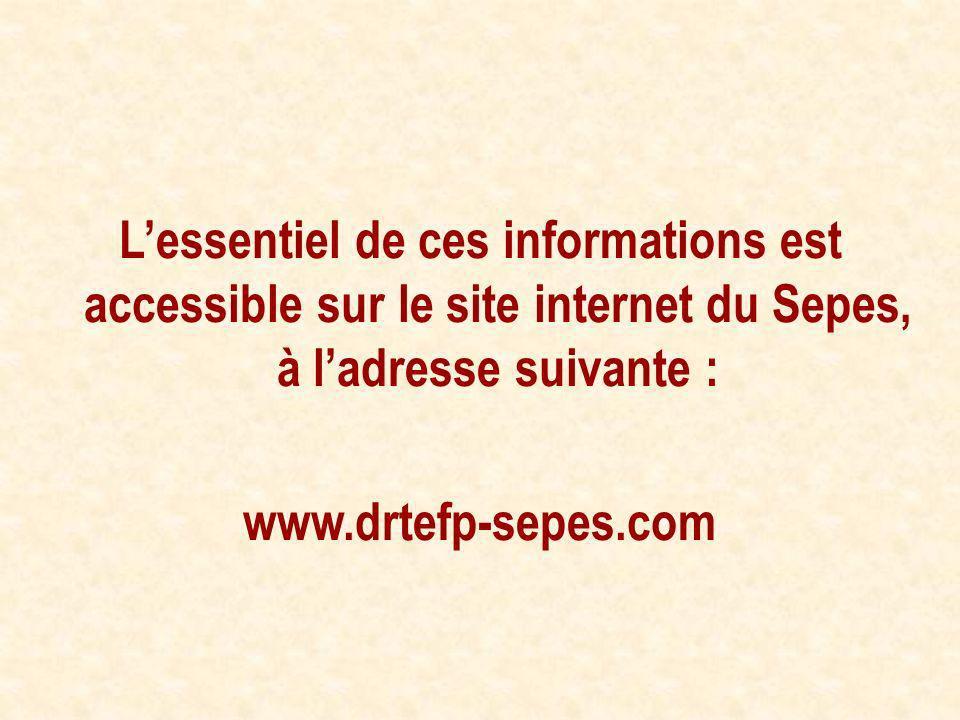 L'essentiel de ces informations est accessible sur le site internet du Sepes, à l'adresse suivante :