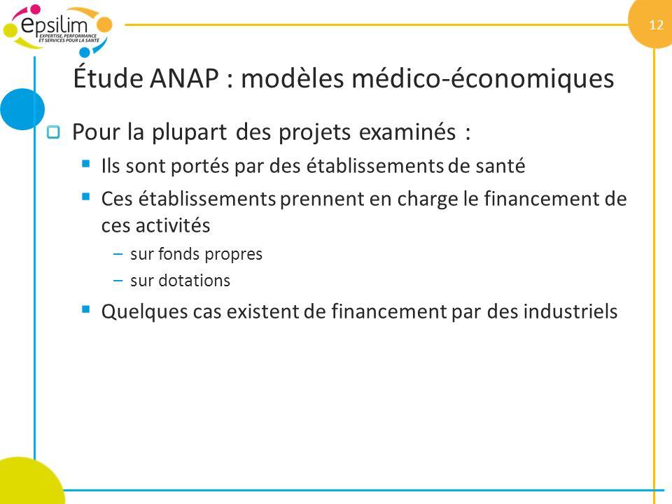 Étude ANAP : modèles médico-économiques