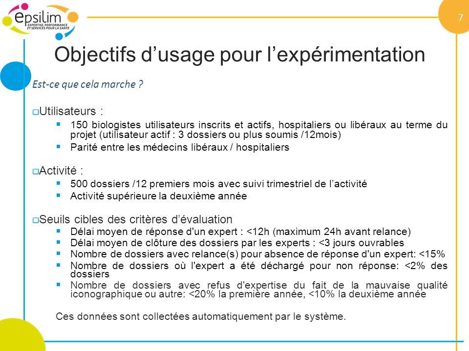 Objectifs d'usage pour l'expérimentation