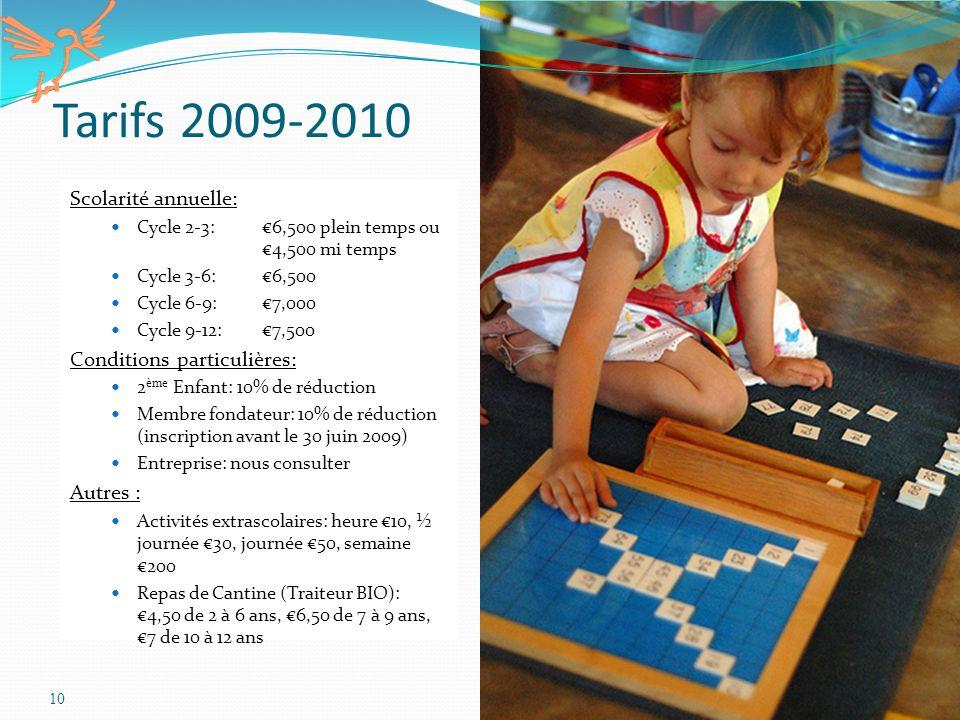 Tarifs 2009-2010 Scolarité annuelle: Conditions particulières: