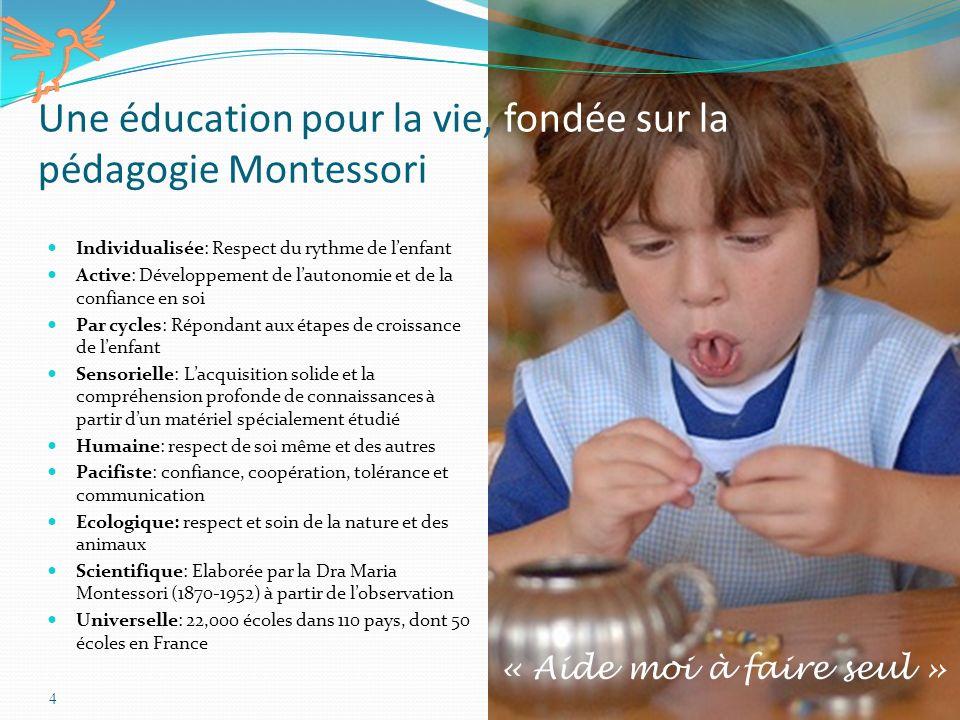Une éducation pour la vie, fondée sur la pédagogie Montessori