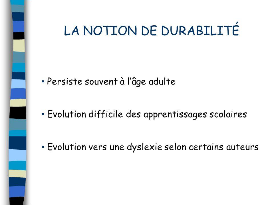LA NOTION DE DURABILITÉ