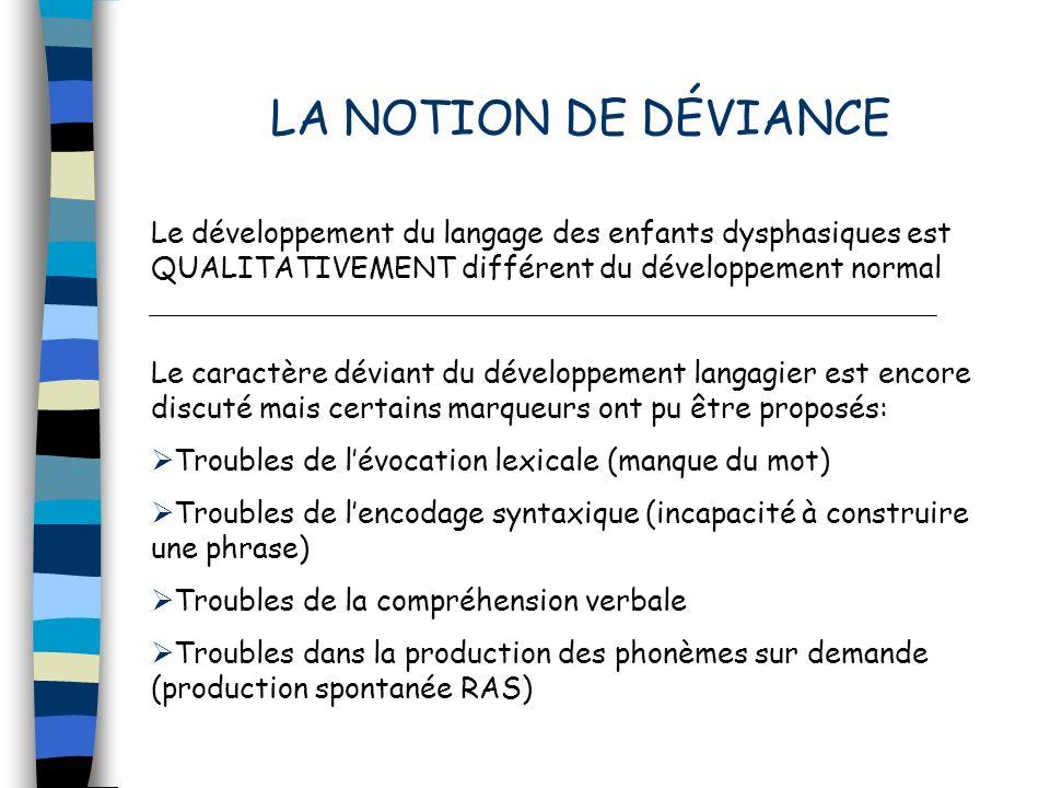 LA NOTION DE DÉVIANCELe développement du langage des enfants dysphasiques est QUALITATIVEMENT différent du développement normal.