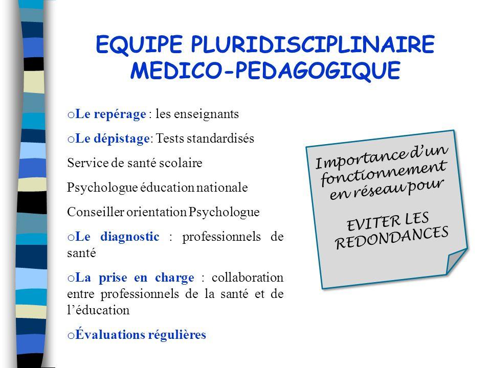 EQUIPE PLURIDISCIPLINAIRE MEDICO-PEDAGOGIQUE