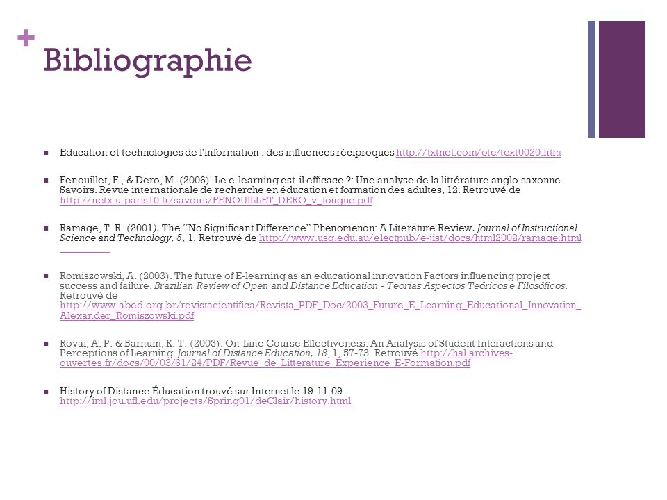 Bibliographie Education et technologies de l information : des influences réciproques http://txtnet.com/ote/text0020.htm.