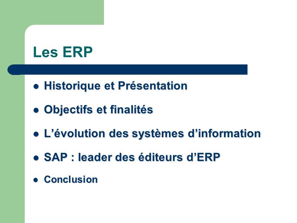 Les ERP Historique et Présentation Objectifs et finalités