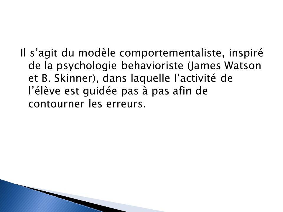 Il s'agit du modèle comportementaliste, inspiré de la psychologie behavioriste (James Watson et B.