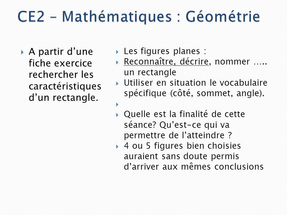 CE2 – Mathématiques : Géométrie