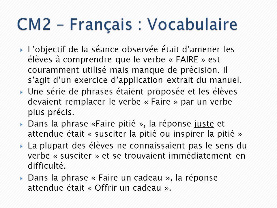 CM2 – Français : Vocabulaire