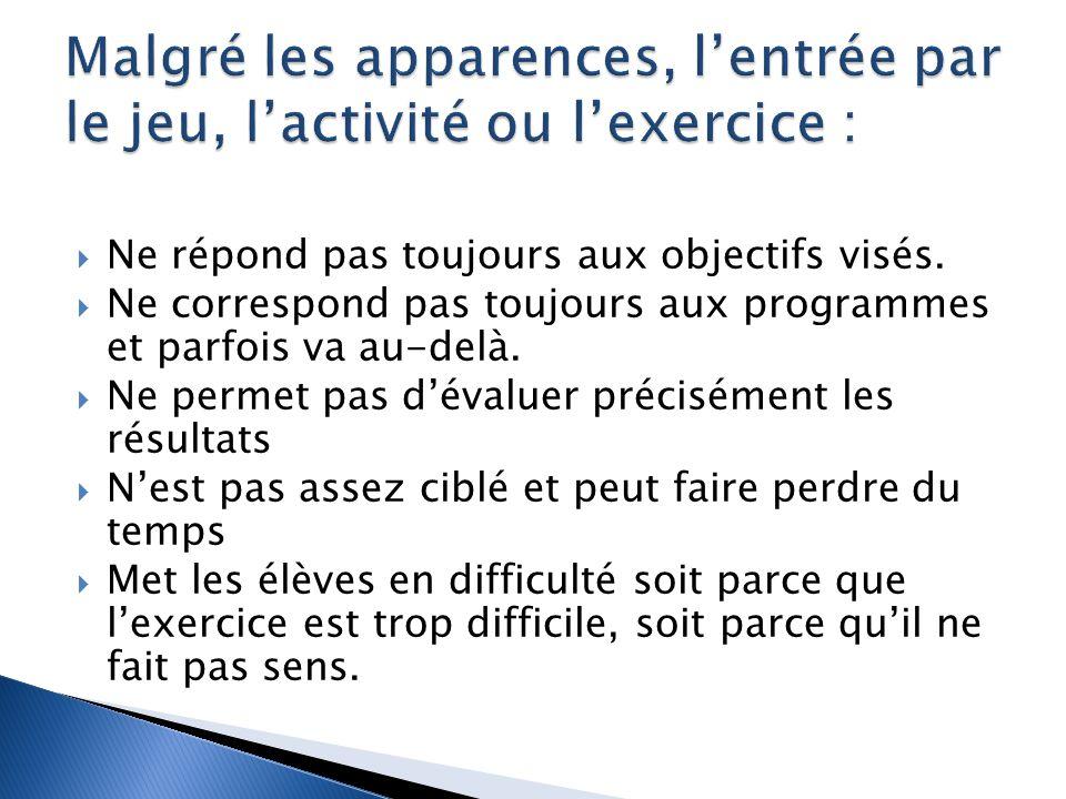 Malgré les apparences, l'entrée par le jeu, l'activité ou l'exercice :