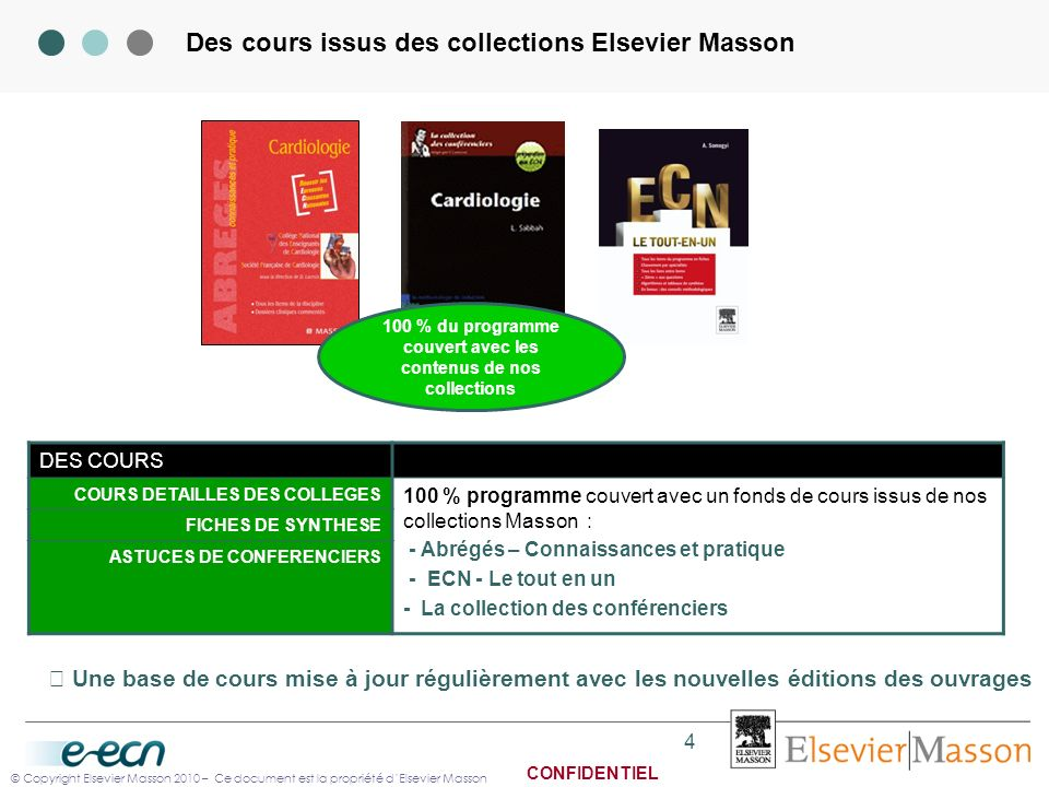 Des cours issus des collections Elsevier Masson