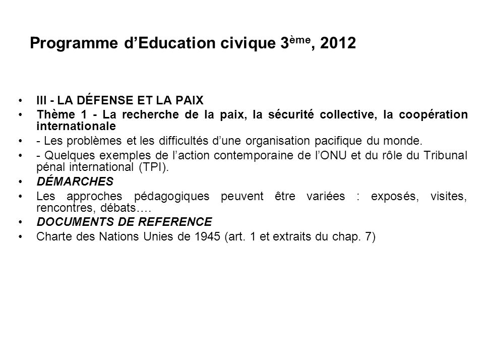 Programme d'Education civique 3ème, 2012