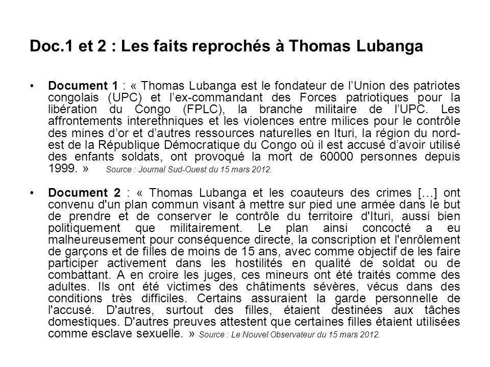 Doc.1 et 2 : Les faits reprochés à Thomas Lubanga