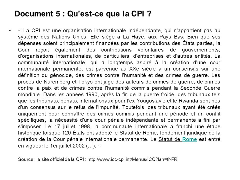 Document 5 : Qu'est-ce que la CPI