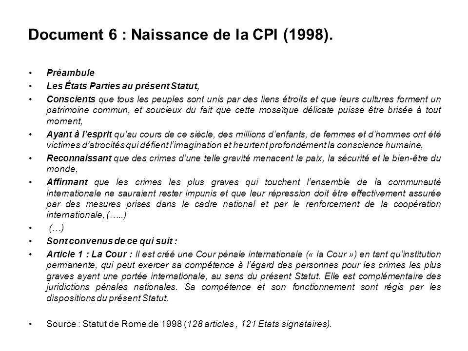 Document 6 : Naissance de la CPI (1998).