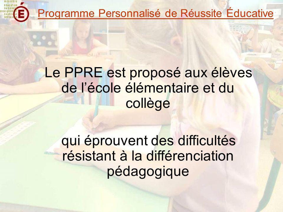 Le PPRE est proposé aux élèves de l'école élémentaire et du collège