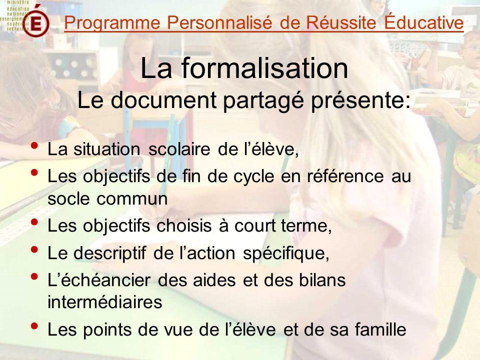 La formalisation Le document partagé présente: