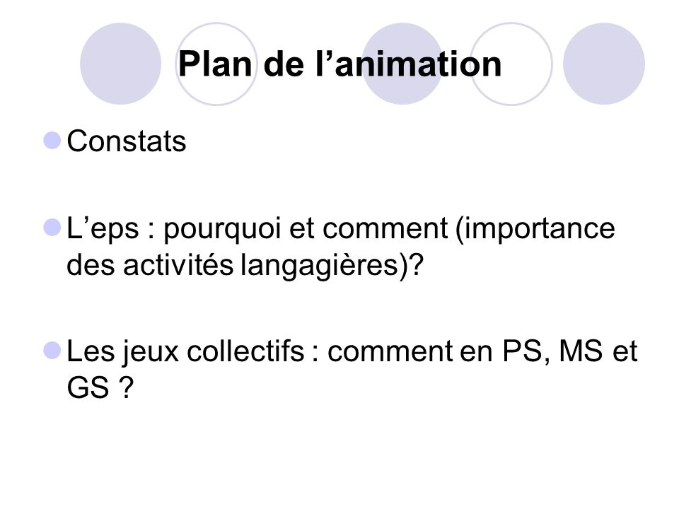 Plan de l'animation Constats