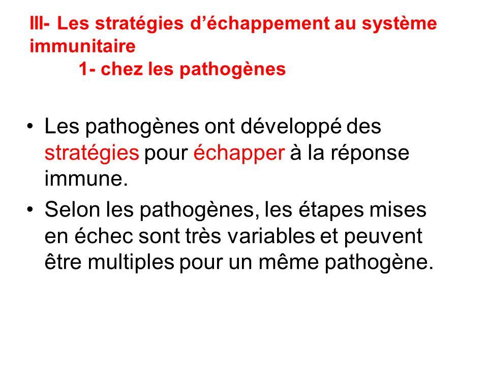 III- Les stratégies d'échappement au système immunitaire