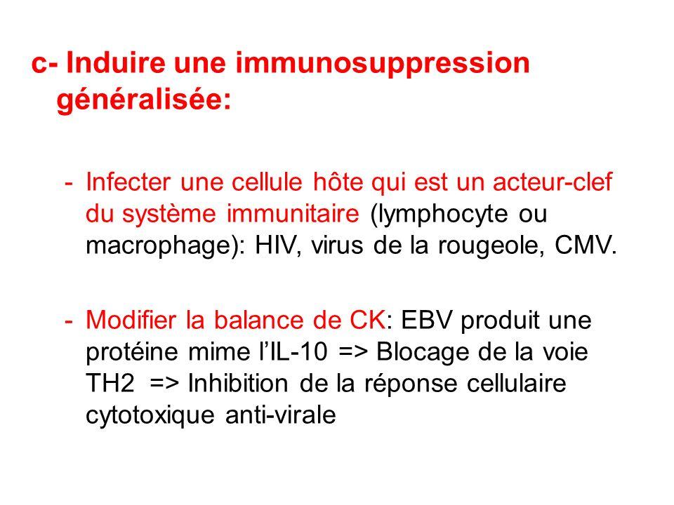 c- Induire une immunosuppression généralisée: