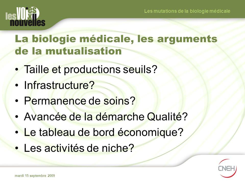 La biologie médicale, les arguments de la mutualisation