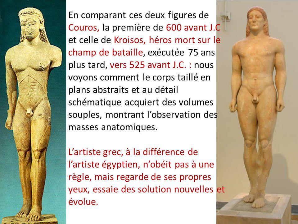 En comparant ces deux figures de Couros, la première de 600 avant J
