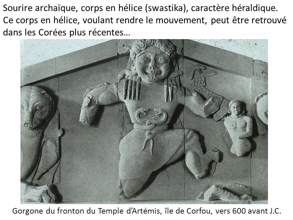Sourire archaïque, corps en hélice (swastika), caractère héraldique