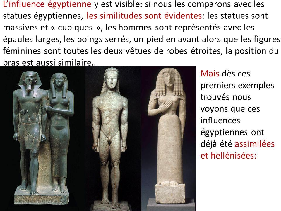 L'influence égyptienne y est visible: si nous les comparons avec les statues égyptiennes, les similitudes sont évidentes: les statues sont massives et « cubiques », les hommes sont représentés avec les épaules larges, les poings serrés, un pied en avant alors que les figures féminines sont toutes les deux vêtues de robes étroites, la position du bras est aussi similaire…