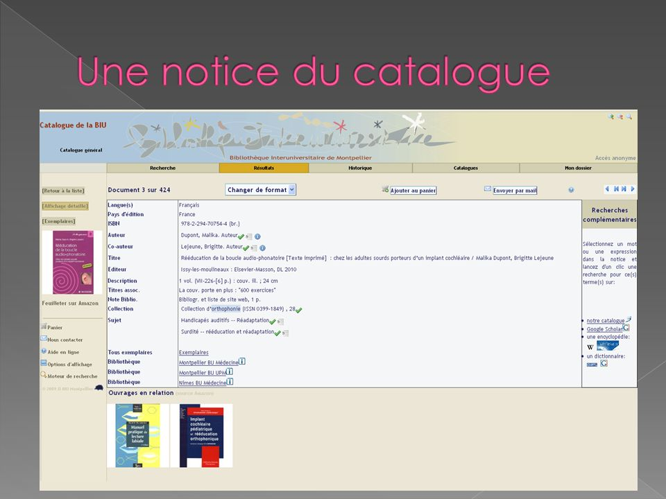 Une notice du catalogue