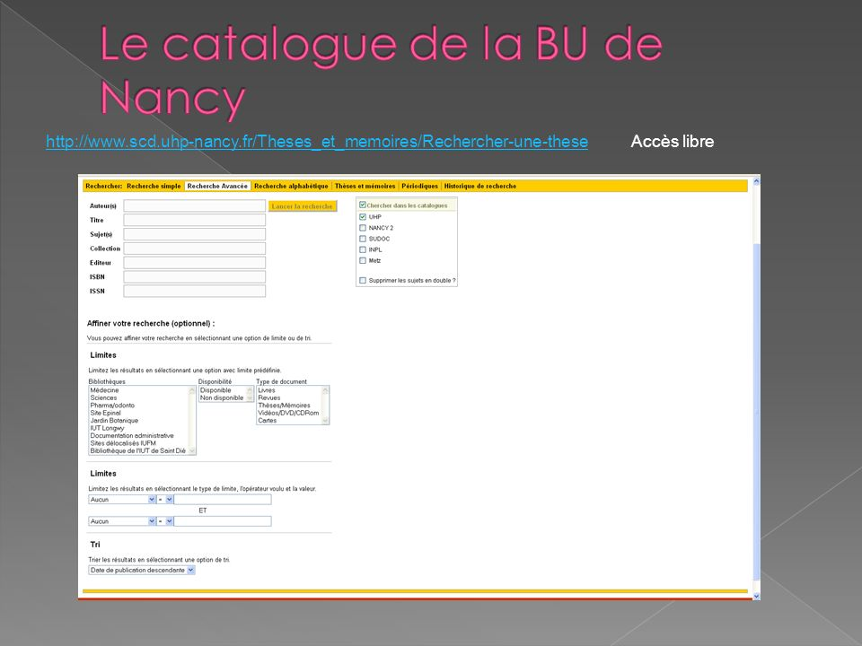 Le catalogue de la BU de Nancy