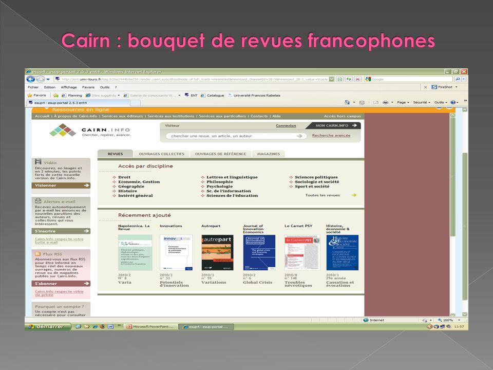 Cairn : bouquet de revues francophones