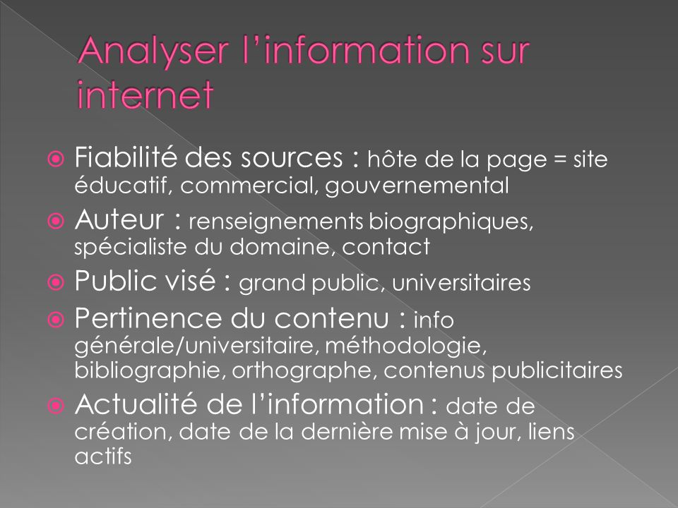 Analyser l'information sur internet