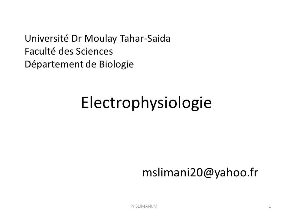 Université Dr Moulay Tahar-Saida Faculté des Sciences Département de Biologie Electrophysiologie