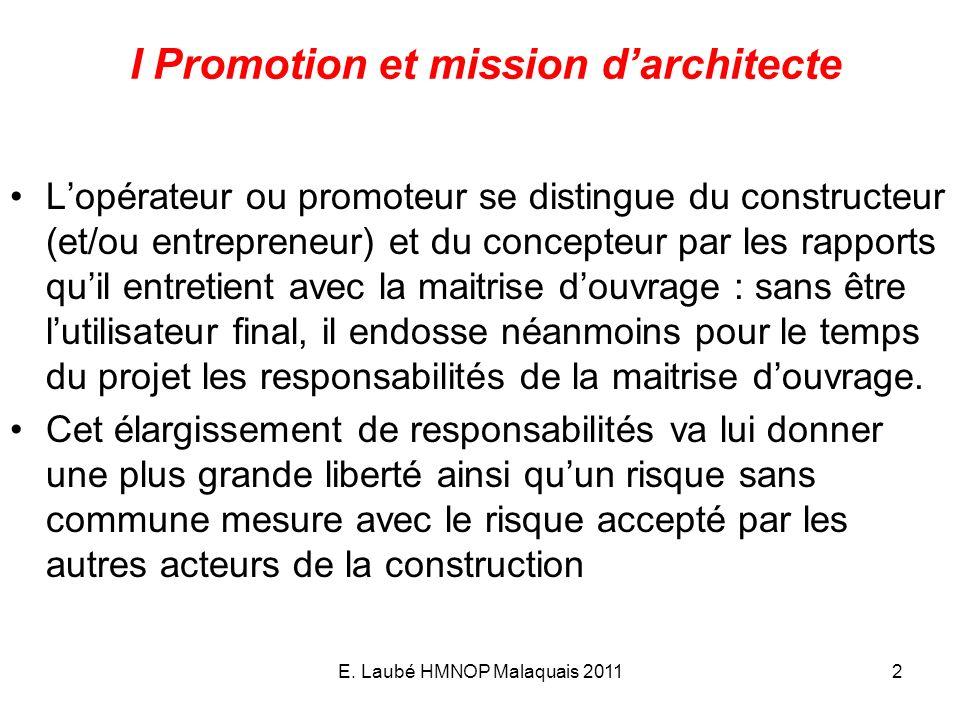 I Promotion et mission d'architecte