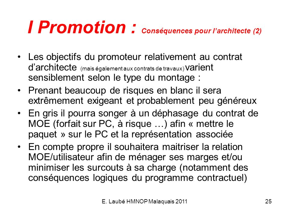 I Promotion : Conséquences pour l'architecte (2)