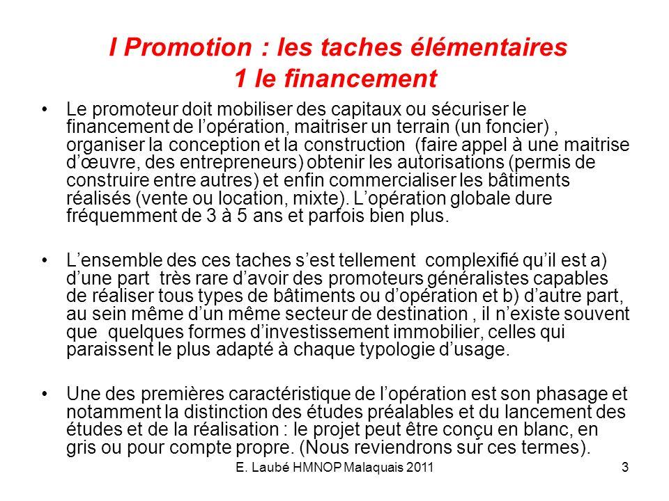 I Promotion : les taches élémentaires 1 le financement