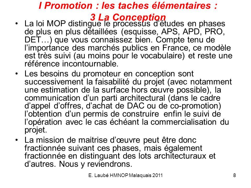 I Promotion : les taches élémentaires : 3 La Conception