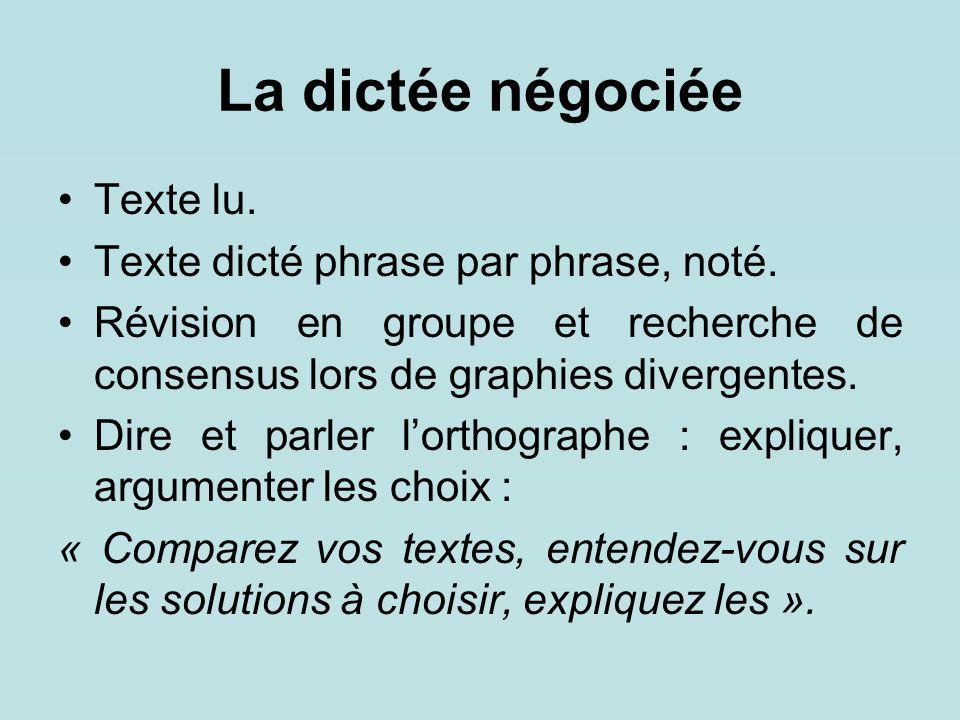 La dictée négociée Texte lu. Texte dicté phrase par phrase, noté.