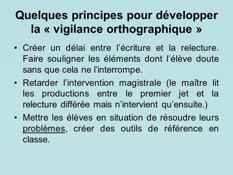 Quelques principes pour développer la « vigilance orthographique »