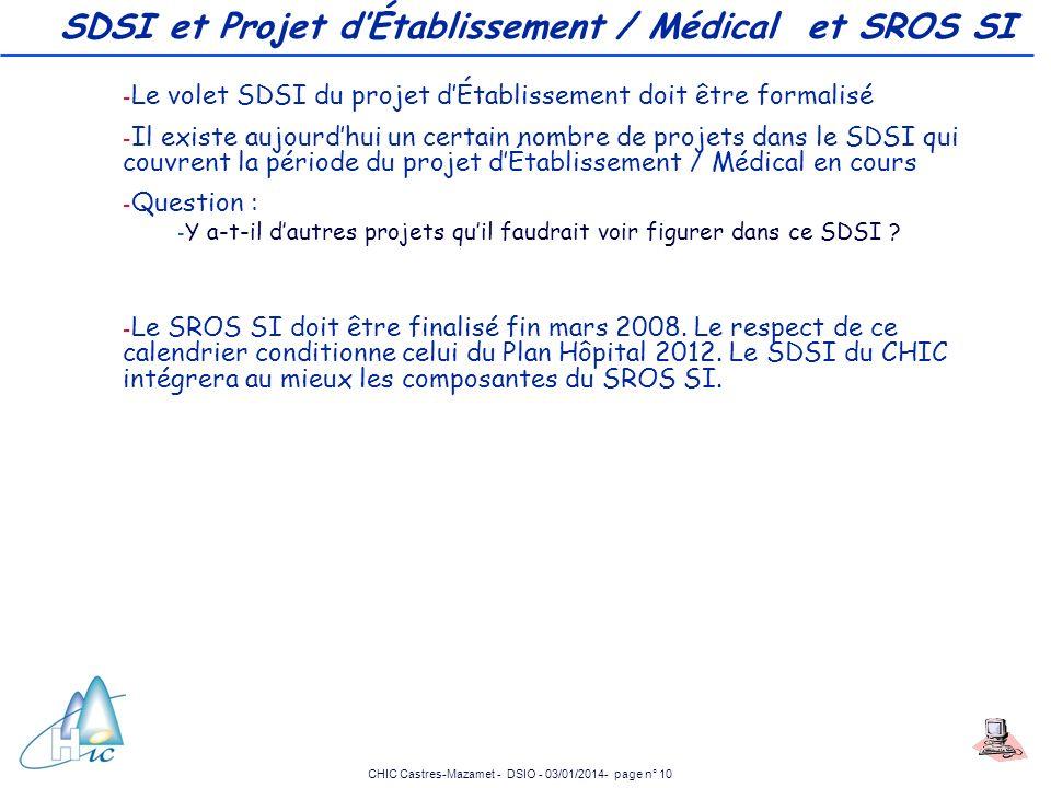 SDSI et Projet d'Établissement / Médical et SROS SI