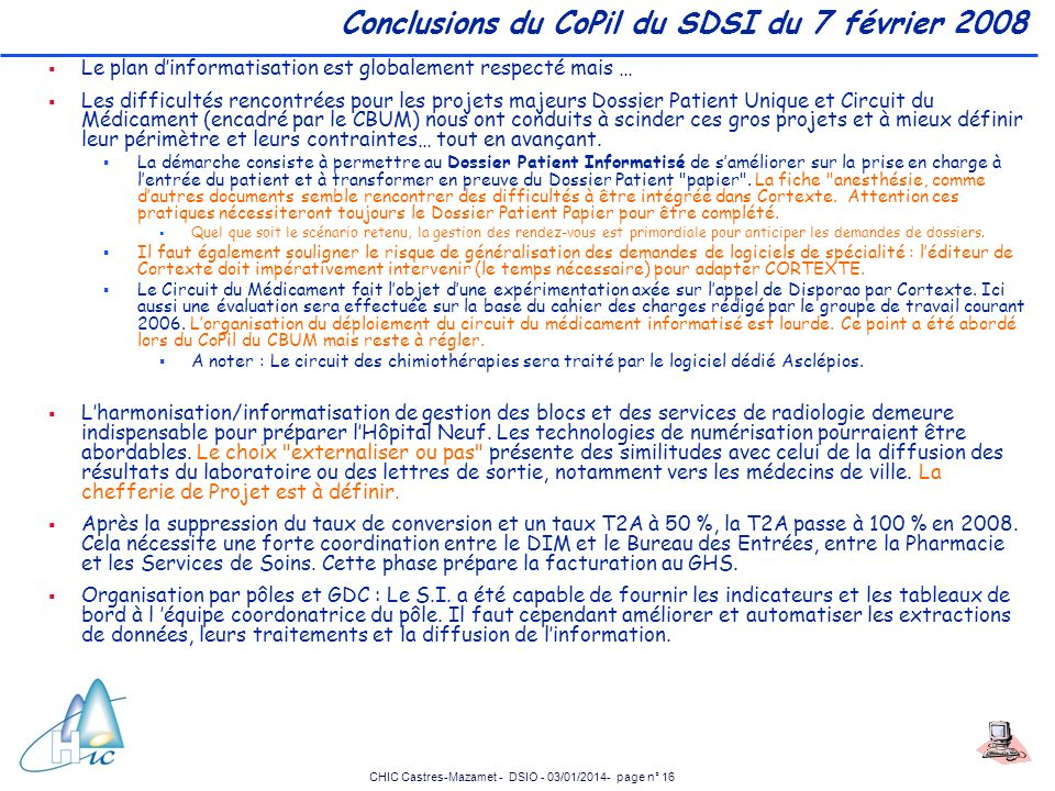 Conclusions du CoPil du SDSI du 7 février 2008
