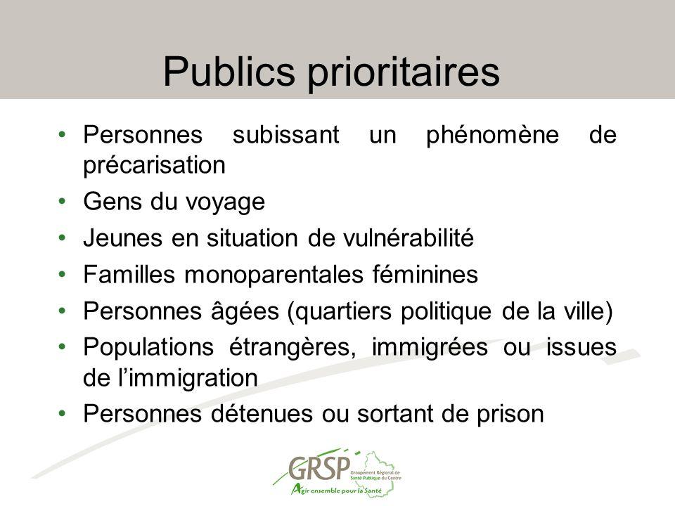 Publics prioritaires Personnes subissant un phénomène de précarisation