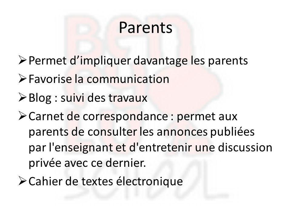 Parents Permet d'impliquer davantage les parents