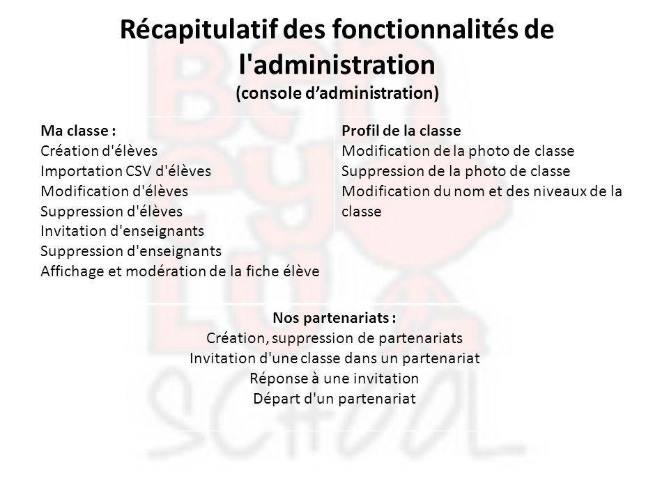 Récapitulatif des fonctionnalités de l administration (console d'administration)