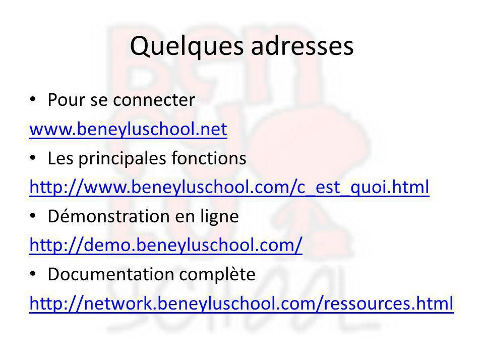 Quelques adresses Pour se connecter www.beneyluschool.net